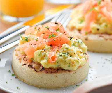 Poached Egg and Smoked Salmon Warburtons Crumpets