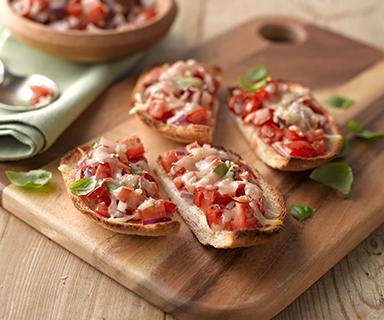 Tomato and Cheese Bruschetta Crusts on Warburtons Weight Watchers White Danish Bread
