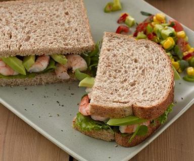 Prawn and Avocado Sandwich with Sweetcorn Salsa on Warburtons Wholemeal Medium Bread