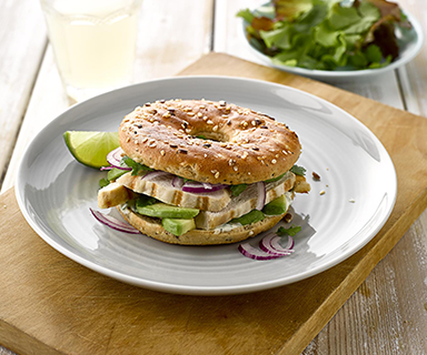 Zesty Chicken Protein Bagels made with Warburtons 4pk Protein Thin Bagels