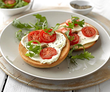Cream Cheese and Tomato on Warburtons Plain Thin Bagels