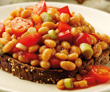 Warburtons Baked Beans with Red Pepper and Cherry Tomatoes on Toast