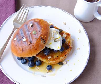 Blueberry and Lemon Yoghurt on Warburtons Teacakes