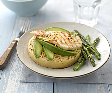 Chicken, Avocado and Asparagus on a Warburtons Giant Crumpet