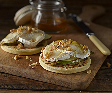 Warburtons Potato Cakes with Goats Cheese and Pear