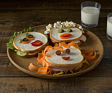 Warburtons Milk Roll Sandwich Faces