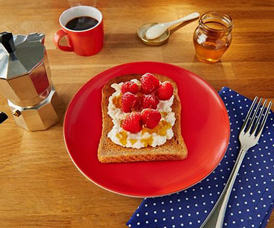 Warburtons Ricotta and Honey with Raspberries and Red Grapefruit on Toast