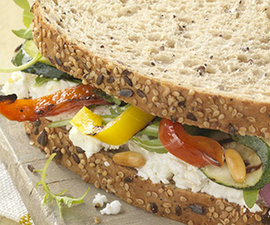 Warburtons Roasted Vegetables and Goats Cheese Sandwich