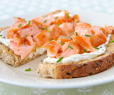 Warburtons Smoked Salmon and Cream Cheese Open Sandwich with Chives