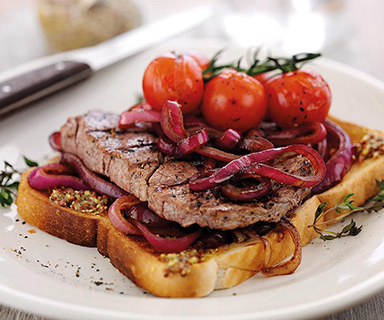 Warburtons Open Steak Sandwich with Mustard and Onions