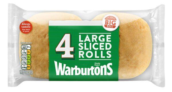 Warburtons 4 Large White Rolls