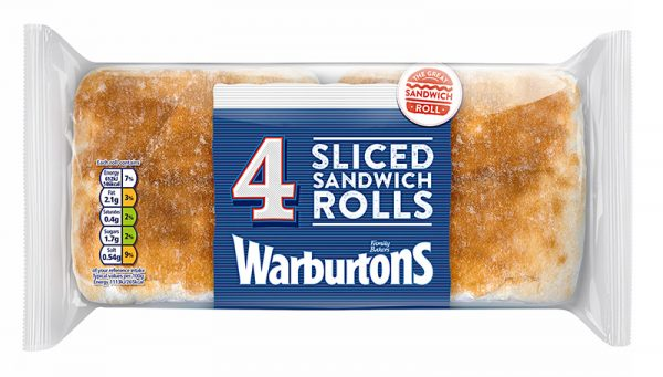 Warburtons 4 Sliced White Sandwich Rolls