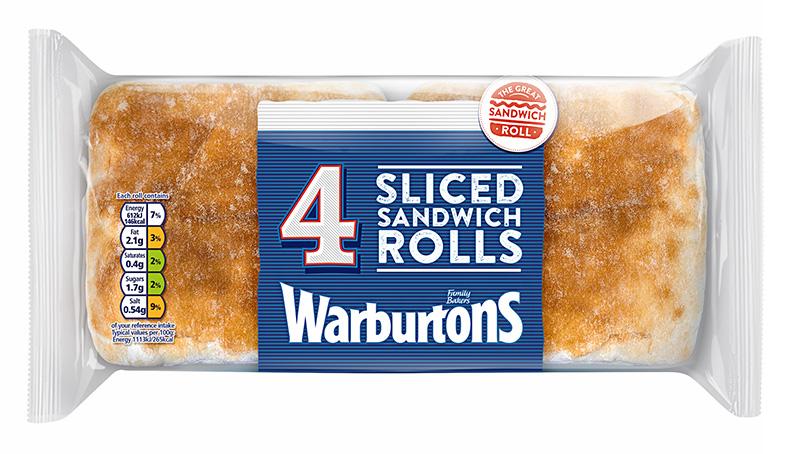 Warburtons 4 Sliced White Sandwich Rolls