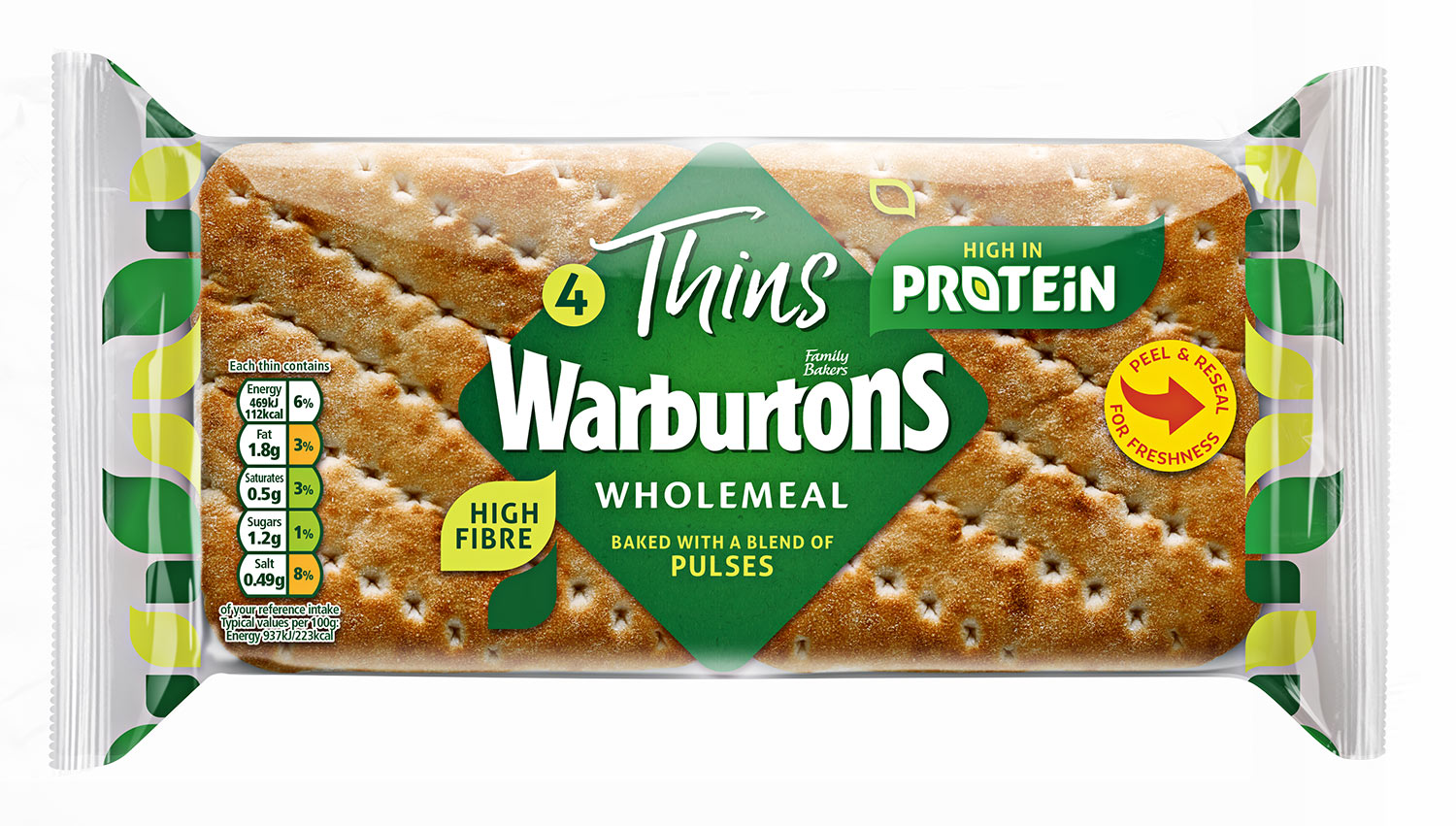 Warburtons 4 Wholemeal Thins with Protein