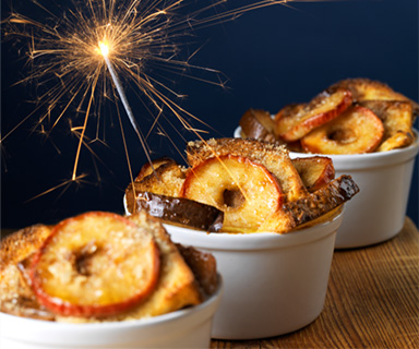 Bonfire Night Toffee Apple Bread and Butter Pudding by Warburtons