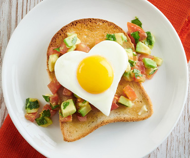 Heart Shaped Egg and Avocado Salsa on Warburtons Toast