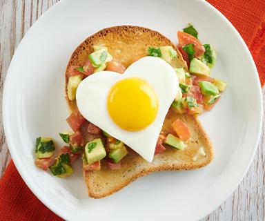 Heart Shaped Egg and Avocado Salsa on Warburtons Toast