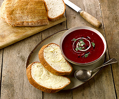 Beautiful Beetroot Soup with Warburtons Gluten Free Tiger Bloomer