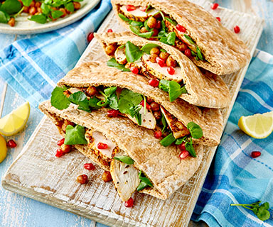 Warburtons Pittas with Spiced Chicken and Roasted Chickpeas