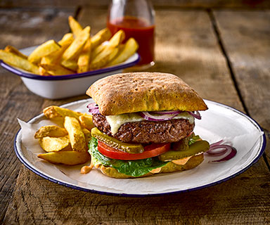 Warburtons Homemade Burgers with Spicy Mayo in Brioche Rolls